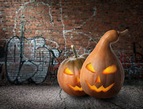 Pumpkins and graffiti Stock Photography