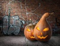 Pumpkins and graffiti stock photography