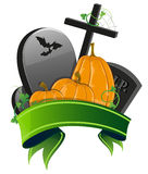 Pumpkins and graves Royalty Free Stock Photography