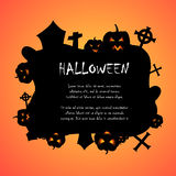 Pumpkins and graveyard halloween background Stock Image