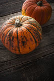 Pumpkins  with green stripe on the wooden table vertical Stock Photo