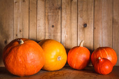 Pumpkins on grunge wooden backdrop background Royalty Free Stock Photography