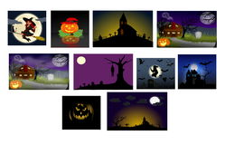 Pumpkins halloween collection. Funny image of halloween pumpkins stock illustration