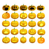 Pumpkins halloween collection. Funny image of halloween pumpkins Royalty Free Stock Images