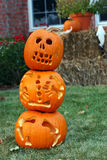 Pumpkins at halloween. 3 stacked pumpkins on lawn for halloween Stock Image
