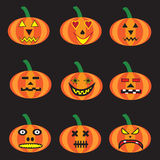 9 pumpkins for halloween. On black background Royalty Free Stock Photos