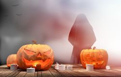 Pumpkins Halloween 3d rendering. Design vector illustration