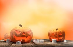 Pumpkins Halloween 3d rendering. Design stock illustration