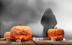 Pumpkins Halloween 3d rendering. Design royalty free illustration