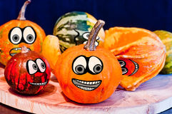 Pumpkins for Halloween with funny friends who play with ghosts -. The famous halloween pumpkins get some nice friends who accompany you to make jokes and ask for Stock Photos