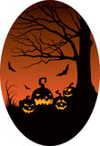 Pumpkins in Halloween night Stock Image