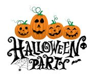 Pumpkins with halloween party. Text for halloween party poster and invitation card vector illustration