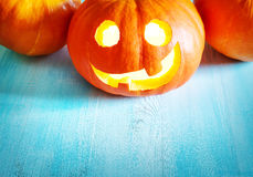 Pumpkins for halloween with spooky faces Royalty Free Stock Photography