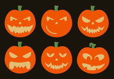 Pumpkins Halloween vector set on black background Royalty Free Stock Photo