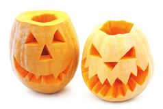 Pumpkins for Halloween. Pumpkins for Halloween on a white background Royalty Free Stock Photo