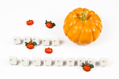 Pumpkins and happy halloween. Text royalty free illustration
