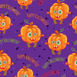 Pumpkins Happy halloween seamless patterns set. Stock Image