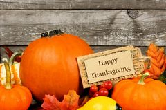 Pumpkins with Happy Thanksgiving tag against wood Royalty Free Stock Image