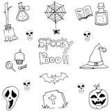 Pumpkins hat skull broom halloween element in doodle Stock Image