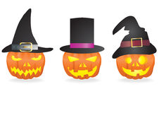 Pumpkins with hats Stock Images