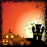 Pumpkins and haunted castle Stock Photos