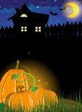 Pumpkins and haunted house Royalty Free Stock Photography