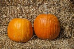 Pumpkins And Hay Stock Photos