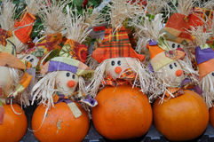 Pumpkins with heads. A lot of colored pumpkins on street market Stock Images