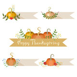 Pumpkins Holiday Decorations With Banners vector illustration