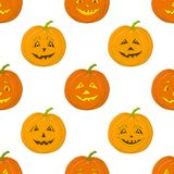 Pumpkins Jack O Lantern, seamless background Royalty Free Stock Photo