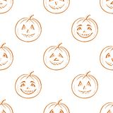 Pumpkins Jack O Lantern, seamless background Stock Photography
