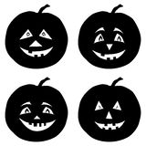 Pumpkins Jack O Lantern, silhouettes Royalty Free Stock Photo