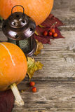 Pumpkins,lantern and fall leaves Stock Image