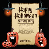 Pumpkins and lanterns with card fot text Stock Images