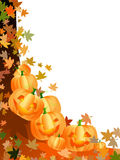 Pumpkins and leaves Royalty Free Stock Images