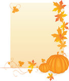 Pumpkins with leaves. Orange pumpkins with fall leaves and frame Royalty Free Stock Images