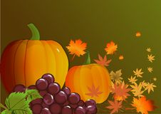 Pumpkins with leaves. Autumn background. Vector. Royalty Free Stock Photo