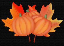 Pumpkins & Leaves Background Royalty Free Stock Photos