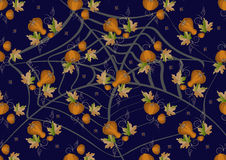 Pumpkins and leaves on a dark background. Backgrou Royalty Free Stock Images