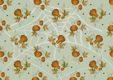 Pumpkins and leaves on a light background. Backgro Stock Photo