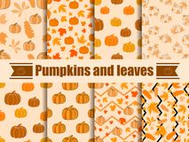 Pumpkins and leaves seamless pattern. Collection of autumn backgrounds. Vector Royalty Free Stock Photography