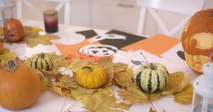 Pumpkins on leaves. Three small pumpkins lying on yellow fallen leaves on white table near jack-o-lantern and other Halloween decorations stock footage