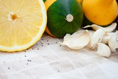 Pumpkins and lemon Royalty Free Stock Photography