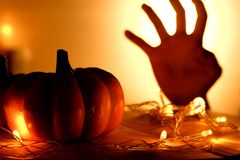 Pumpkins and lights decorate the halloween day Royalty Free Stock Images
