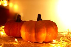 Pumpkins and lights decorate the halloween day Royalty Free Stock Photos