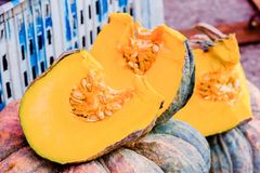Pumpkins on the market royalty free stock photo