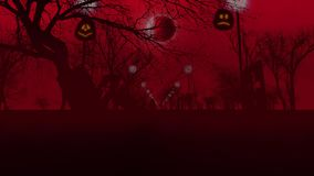 Pumpkins, the Moon, lampstands and trees Stock Photography