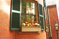 Pumpkins near house window for Halloween Stock Photos