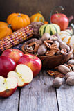Pumpkins, nuts, indian corn and apples Royalty Free Stock Image