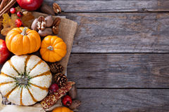Pumpkins, nuts, indian corn and apples Royalty Free Stock Photos